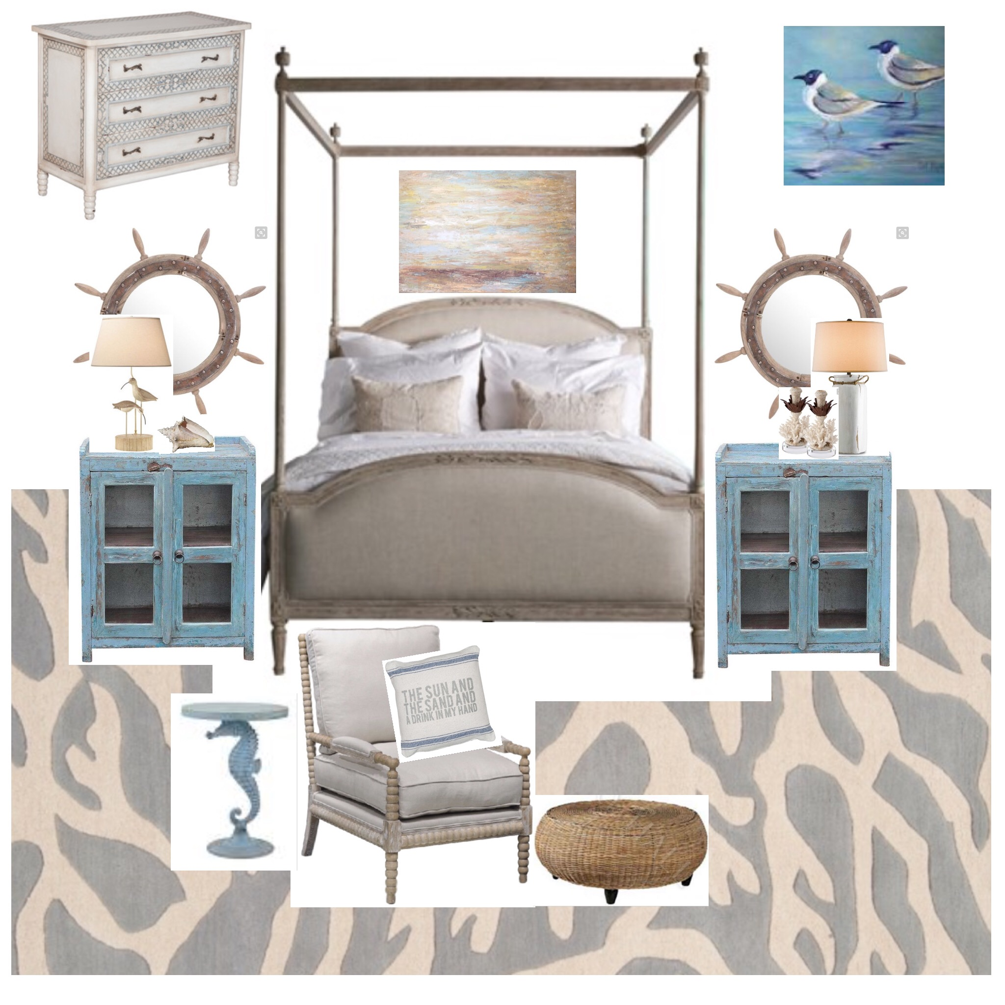 here are a few other beachy bedrooms in which i would gladly awaken to an ocean sunrise