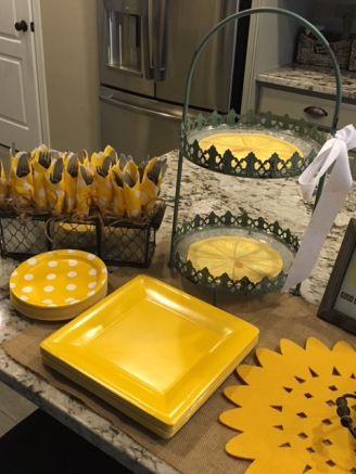 Yellow serve-ware and decor brightened the brunch buffet line.