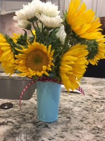 Sunflowers were the perfect casual choice for the floral arrangements.