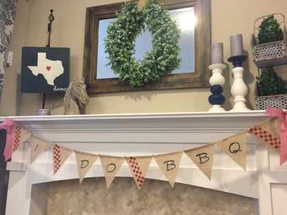 "Banner was made with a pre-made burlap ""blank"" banner, a stencil kit, craft paint and sponge brush."