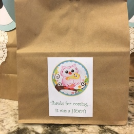 """""""Thanks for coming...It was a """"HOOT!"""" (favor bag tag)"""