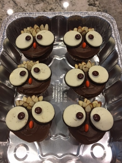 Owl-themed cupcakes decorated with Oreos, M&Ms and slivered almonds.