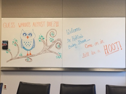 Since hosting the party in a Conference Room limited our ability to hang decorations, we used the white board to welcome our guests and relay out theme.