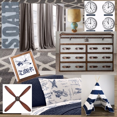 Design Board - Inspiration for Airplane Themed Boy Bedroom