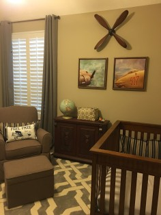 "A very large patterned rug provides added itnerest. THe extra padding will also come in handy when the baby transitions to a ""big boy"" bed."